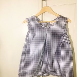 Blue and white gingham print ruffle blouse XXL